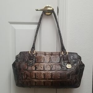 Large BRAHMIN Gorgeous Leather Satchel crocodile